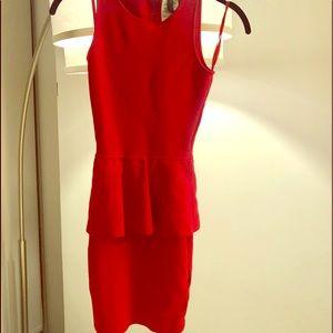 BCBG red midi bodycon dress